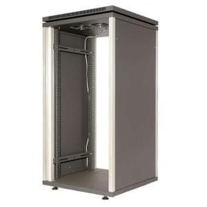 МЕТА 4901-24 шкаф 24U, стекл. дверь, 2вентил.